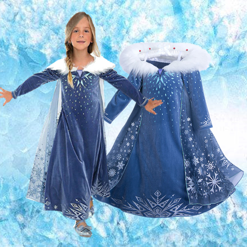 4-10 Years Fancy Cosplay Princess Costume Girls Elsa Dress For Christmas Halloween Gown Christmas Role-Play Kid Girl Clothes 1