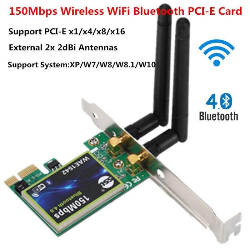 Bluetooth WiFi PCI-E Network Card 2.4G Wireless 150Mbps PCI-E PCI Express Internet Networking Adapter
