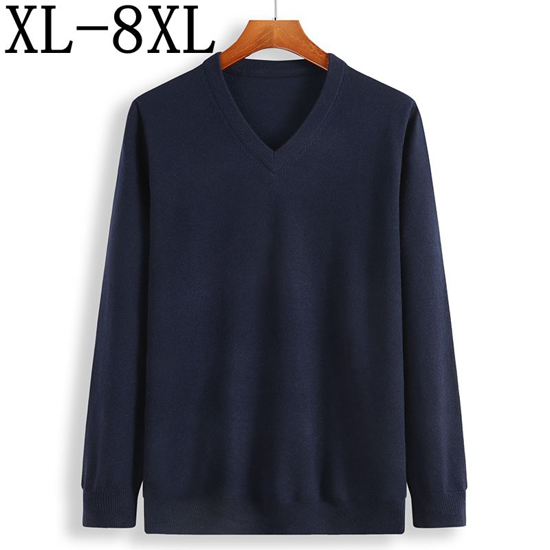 2019 New Winter Cashmere Sweater Men Loose Male Pullovers V-Neck Men's Knittwear Men's Christmas Sweaters Plus Size 6XL 7XL 8XL