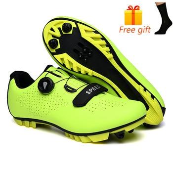 Carbon Fiber Men Cycling Shoe Breathable Triathlon Mountain Bike Shoes Man Sport Road Racing Snaeker Spin Buckle 7