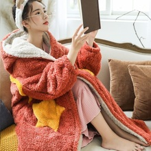 Blanket Hooded Jacket Fleece Sleeve Winter Women Cute with Oversized Indoor Warm Plush
