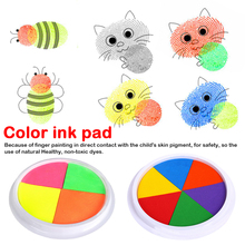 Learning Education Drawing Toys Funny 2 Colors Ink Pad Stamp DIY Finger Painting Craft Cardmaking Large Round For Kids 20 color funny colorful ink pad stamp diy finger painting craft cardmaking mud for kids learning education drawing creative toys