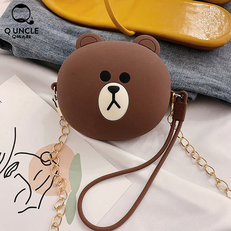 Q UNCLE Mini Purse Fashion Cartoon Cute Bear Pattern Kawaii Wallet For Boys Girs Adult Teens Coin Chain Diagonal Shoulder Bag