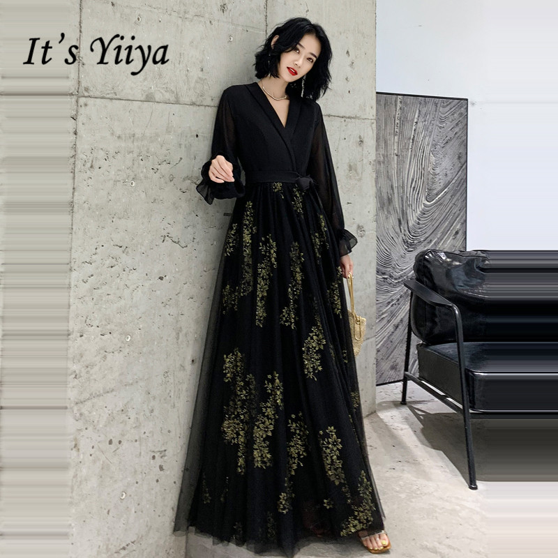 It's Yiiya Evening Dress Elegant Black V-neck Evening Dresses Embroidery Lace Formal Gown Long Sleeve Robe De Soiree LF140