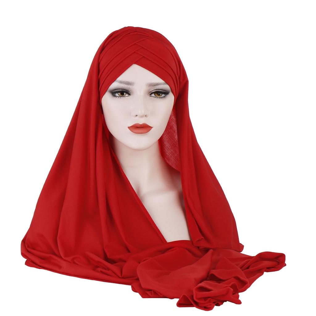 Monochrome Scarf Hat Two-Piece Set Malaysia Muslim WOMEN'S Fashion Applique Hijab