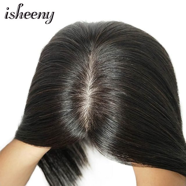 """10"""" 12"""" 14"""" Human Hair Topper Wig For Women 12*12 Breathable MONO PU Base With Clip In Hair Toupee Remy Hairpiece"""
