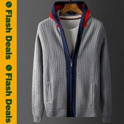 Automne hommes à capuche Cardigan pull veste hommes chandails Sweatercoat creux hiver épaissir tricots veste à capuche couple vêtements d'extérieur femmes