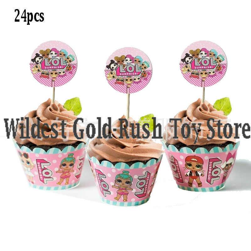 24 Uds LOL sorpresa muñecas tarjeta para pastel de fruta macho-en los niños suministros de fiesta de cumpleaños Plugin lol sorpresa de cumpleaños juguetes 10CM