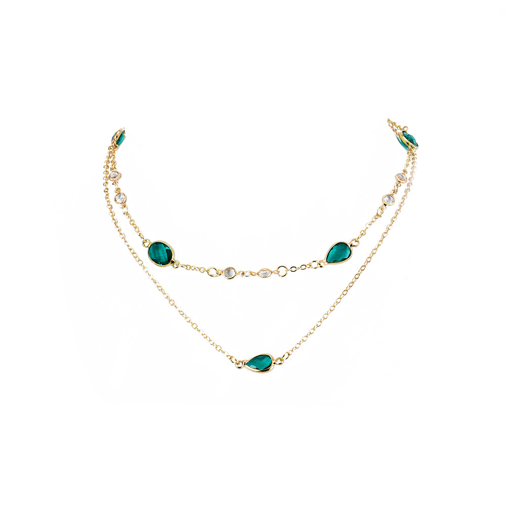 Boho Fashion Green Water Drop Stone Pendant Necklaces For Women Vintage Gold Necklace New Multilayer Female Jewelry Wedding Gift