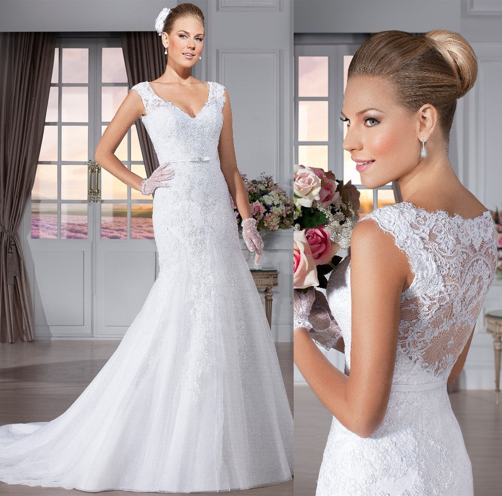 Free Shipping Vestido De Noiva Sereia Mermaid V-neck Sexy Lace Wedding Dress Bride Dresses Vestido De Casamento H45