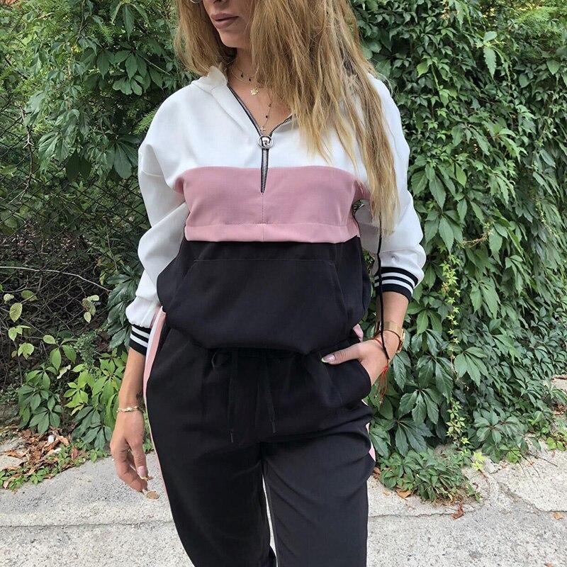 Loose Color Patchwork Zipper Casual Long Sleeve Women Autumn Hooded Sweatshirt Female Sportswear Pocket Fashion Hoodies SJ4760U