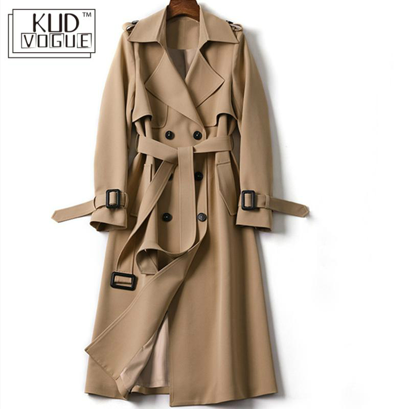 Classic Women Long Trench Coat Fashion Double Breasted Belt Casual Trench 2019 Spring New Lady Casual Business Outerwear Black