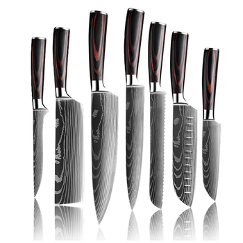 Upgraded Stainless Steel Chef Knife Set Laser Damascus Pattern Stainless Steel Sharp Cleaver Slicing Utility Knives Home & Garden Home Garden & Appliance Kitchen & Steak Knives Kitchen Knives & Accessories Kitchen, Dining & Bar Color: 7pcs-ABCDEGH