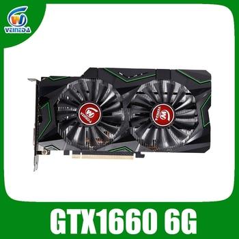 VEINEDA Graphic card  GTX 1660 6g video card Nvidia GPU TU116 1785Mhz Video Card 192 Bit HDMI DVI For Gaming PC 1