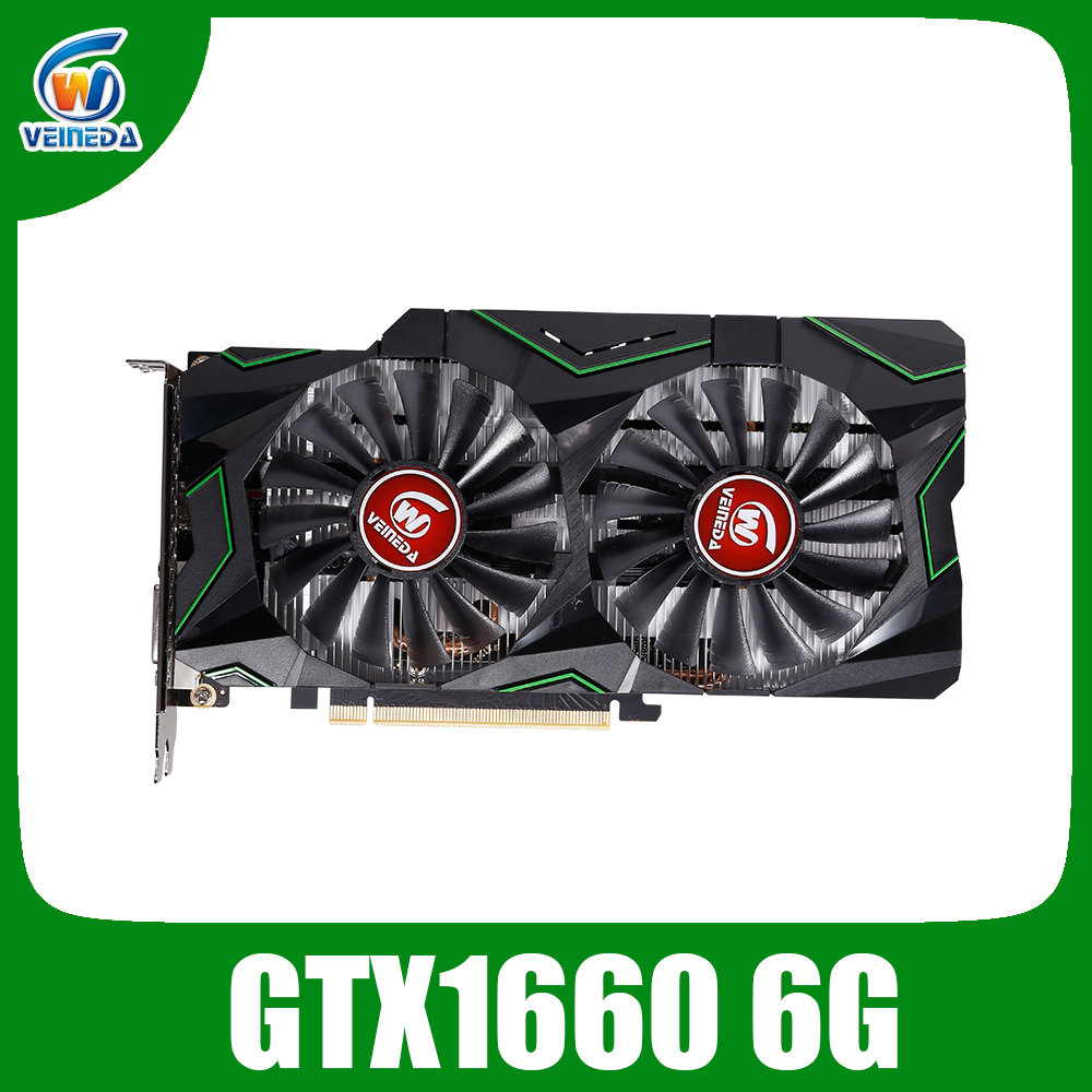VEINEDA Graphic card GTX 1660 6g video card Nvidia GPU TU116 1785Mhz Video Card 192 Bit HDMI DVI For Gaming PC image