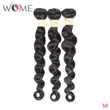WOME свободные глубокие волнистые пряди бразильские натуральные кудрявые пучки волос 1/3/4 шт./партия 10-26 дюймов натуральный цвет не Реми волосы для наращивания