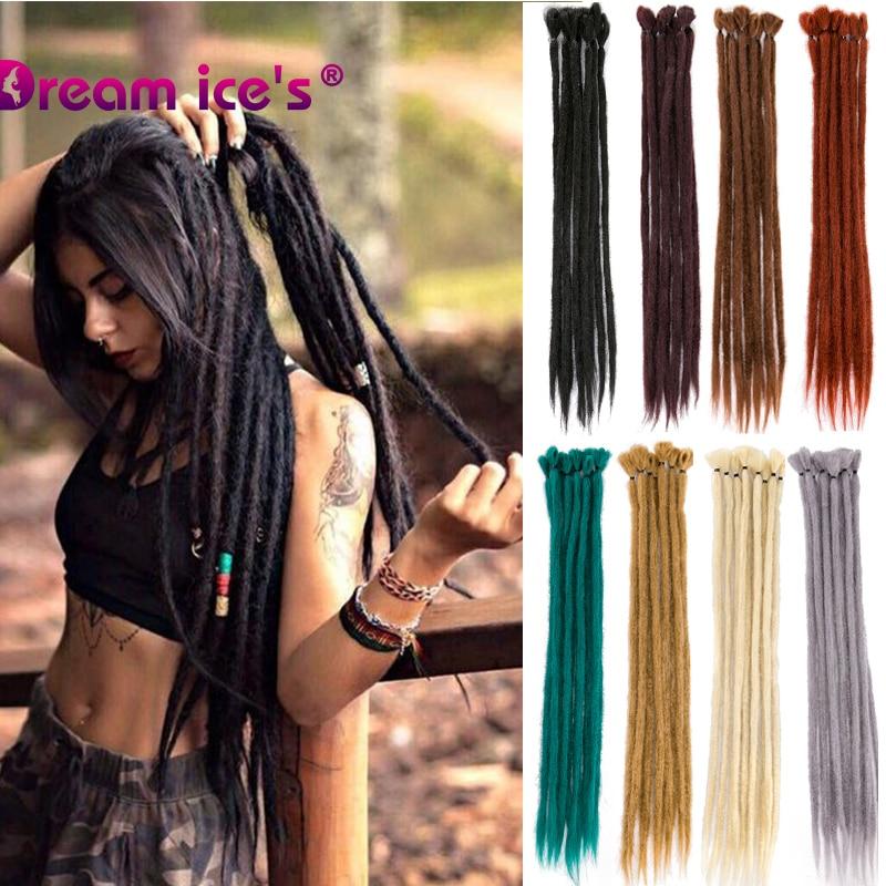 Syntehtic Dreadlocks Hair Extension For Women And Men Handmade Dreads Brown Blond Crochet Braiding Hair Pieces 1 Strand