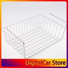 White/Silver Lightweight and Durable Design Suoerior Kitchen Under Shelf Storage Basket Lightweight Metal Organiser Rack