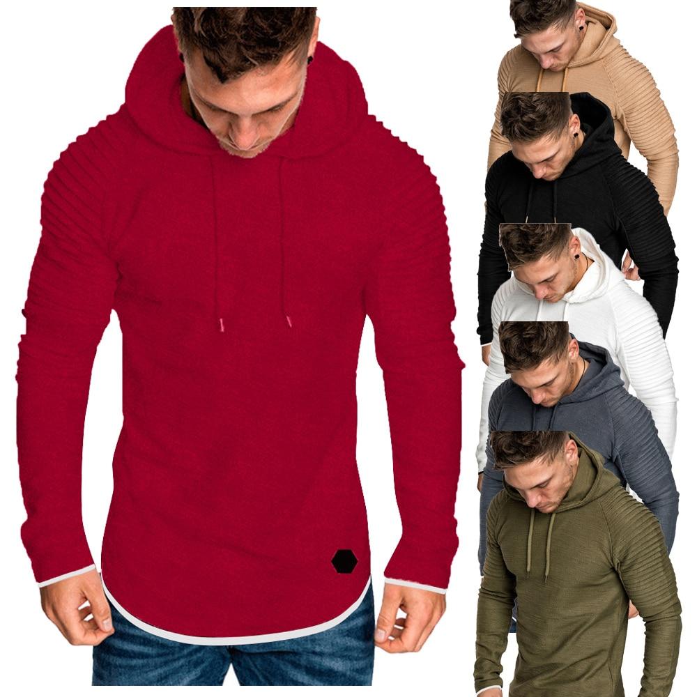 H523adf28b4f94ade8ce3952ae9ba79a3B Men Hoodies Sweatshirts 2019 Autumn Pleats Slim Fit Raglan Long Sleeve Hoodie Tops Men Solid Hoodie Pullover Men Outerwear Tops