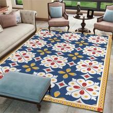 Alfombras y alfombras AOVOLL para el hogar, sala de estar, Vintage Denim americano, alfombra azul blanca, decoración nórdica para el hogar del bebé