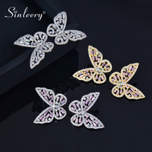 SINLEERY Butterfly Hollow Stud Earrings Gold Silver Color Pink White Crystal Inlay Cubic Zirconia Earrings Jewelry CZ077 SSH