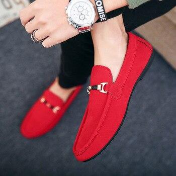 Мужские дизайнерские туфли, мягкие Нескользящие Мокасины, без застежки, повседневная обувь для вождения, красные