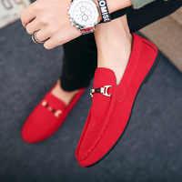 Sapatos de grife Dos Homens Slip-On Sapatos de Couro Zapatos De Hombre Sapatos Masculinos Casuais Adulto Red Driving Mocassim Macio Não -escorregar Mocassins