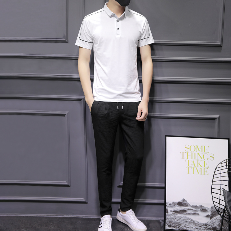 MEN'S Short-sleeved T-shirt Summer 2019 New Style Korean-style Trend Handsome Slim Fit Clothes A Set Of Leisure Suit Men's