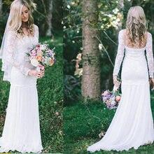 Женское свадебное платье белое кружевное невесты с длинным рукавом