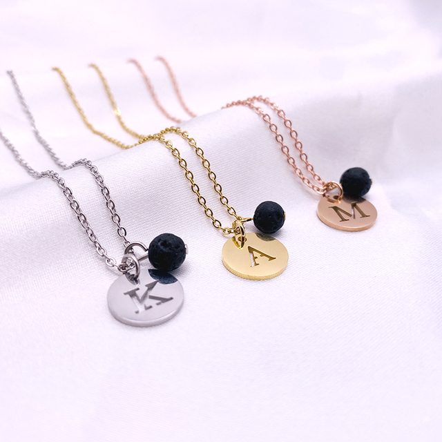 Stainless Steel 12mm Disc Initial Letter Alphabet Chain Necklace Creatively 26 Initial Name Couple Necklaces Lover Gift New 6