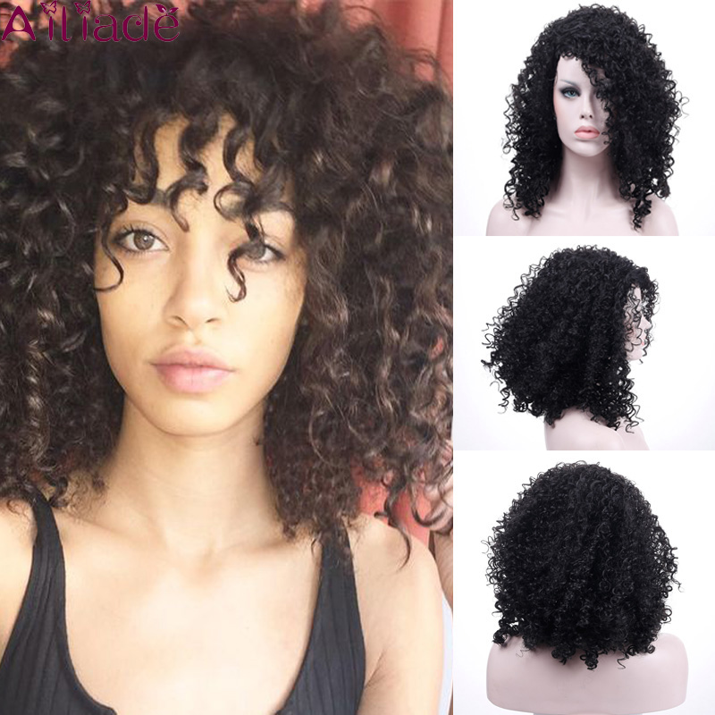 AILIADE Short Curly Hair Curly Black Wig African American Hairstyle Solid Color Black Synthetic Wig Ladies 12 Inches