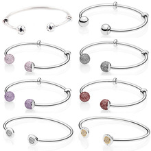 NEW 100% 925 Sterling Silver Double headed Classic Crystal Bangle Clear CZ Charm Bead Fit DIY Bracelet The Factory Wholesale