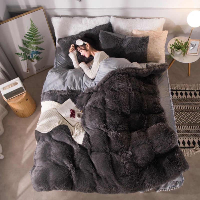Branco longo cabelo cama saia definir cashmere + veludo capa de edredão conjunto camelo velo bedidng conjunto engrossar quente roupa de cama saia babados bola