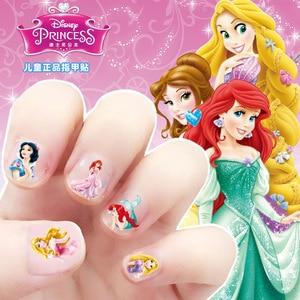Image 2 - Pegatinas para uñas de Frozen, elsa y Anna, juguetes de maquillaje, Disney, Blancanieves, Princesa Sofía, Mickey, Minnie, pendientes para niños, juguetes de pegatinas