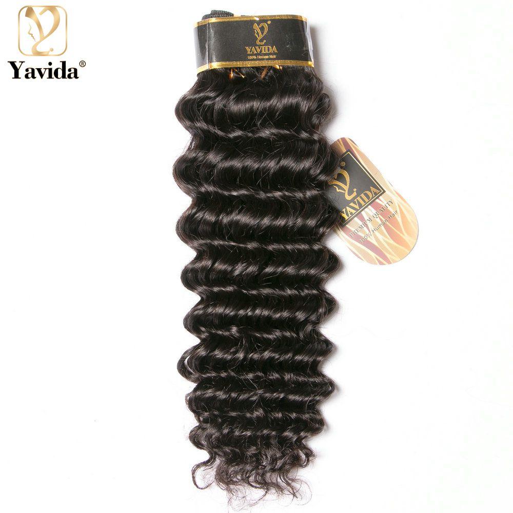 Yavida brezilyalı derin kıvırcık insan saçı örgü demetleri 1 adet doğal renk % 100% insan saçı dokuma olmayan Remy saç atkı