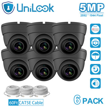 UniLook 5MP IP Camera poe onvif Audio Built in Microphone IP CCTV Security Turret Dome Camera H.265 6PACK Grey цена 2017