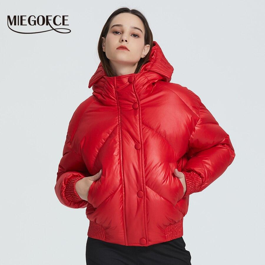 Miegofce 2019 novo design casaco de inverno jaqueta feminina isolada corte comprimento da cintura com bolsos parka casual gola com capuz