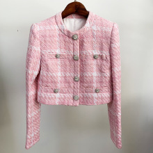 Coat Women Jacket Diamond-Button Plaid Woolen Pink Winter Fabric Woven Custom Short Autumn