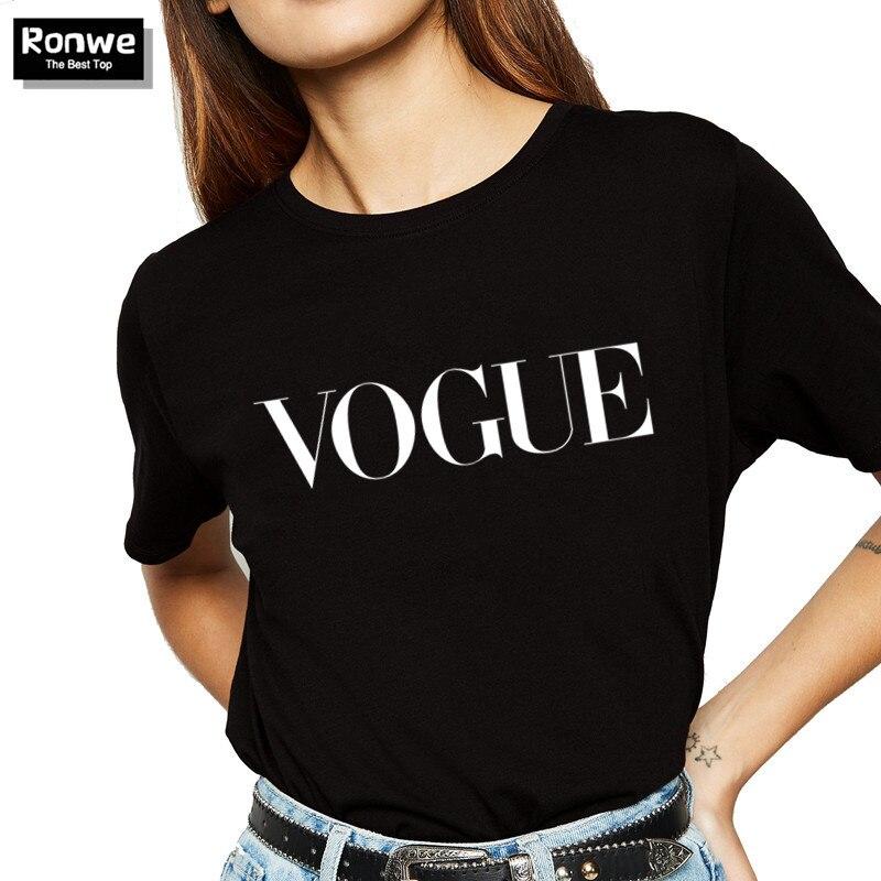 Летняя женская футболка VOGUE с буквенным принтом, Брендовая женская футболка, повседневные свободные топы с короткими рукавами и круглым вырезом, Camisetas Mujer
