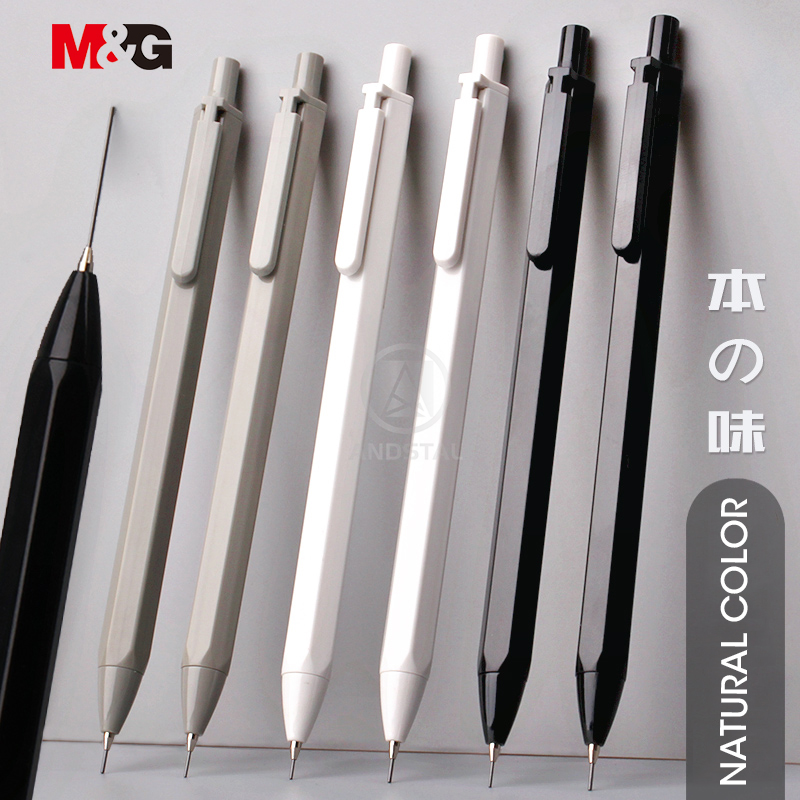 M&G 3pcs/lot Simple Hexagon Mechanical Pencil 0.5mm HB Automatic Pencil Stationery Auto Pencils For School Office Supplies