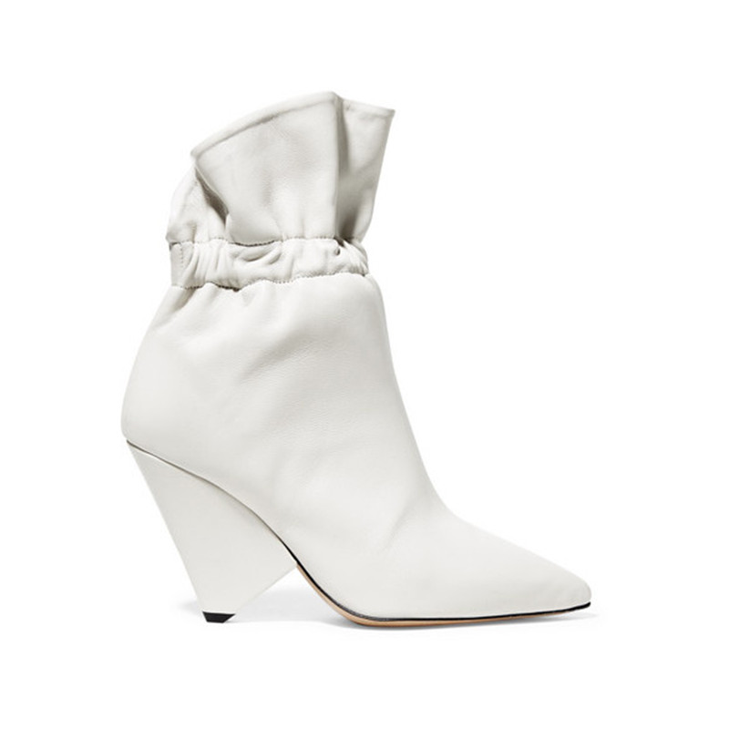 2020 Designer Winter White Ankle Boots Women Sexy Spike Heels Pointed Toe Slip On Short Boots Runway High Heels Shoes Women Bota