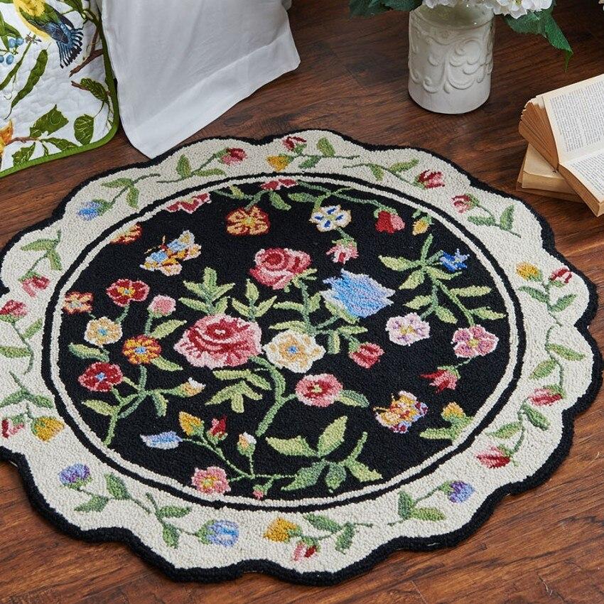 100% laine fait à la main style américain magnifique tapis de zone, tapis de table basse de salon de forme ronde, tapis de décoration pastorale