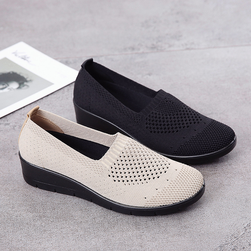 AARDIMI 2020 Breathable PU Leather Summer Shoes Woman Flat Mid Heel Hollow Out Women Loafers Slip On Shoes For Women Soft Flats