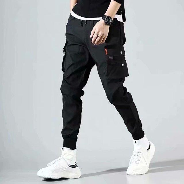 2021Hip Hop Joggers Mens Black Harem Pants Multi Pocket Ribbons Mens Sports Pants Streetwear Cargo Pants Men Japanese Streetwear 6