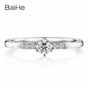 BAIHE Solid 10K White Gold(AU417) Certified About 0.25ct Round cut 100% Moissanite Trendy Wedding Women Gift Fine Jewelry Ring image