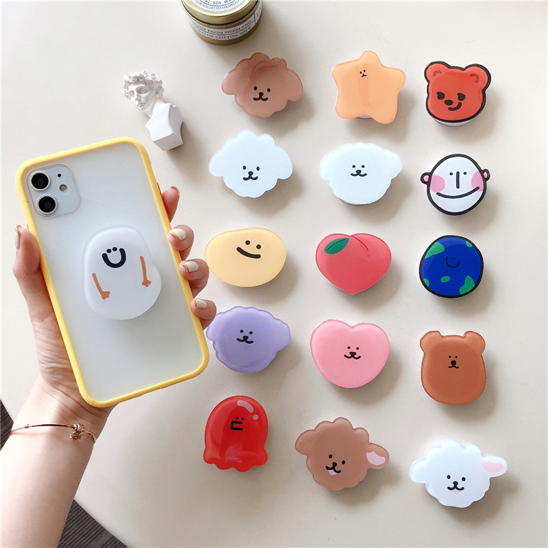New Creative Universal Cute Cartoon Foldable Mobile Phone Finger Ring Bracket Handle Air Bag Bracket Accessories For IPhone