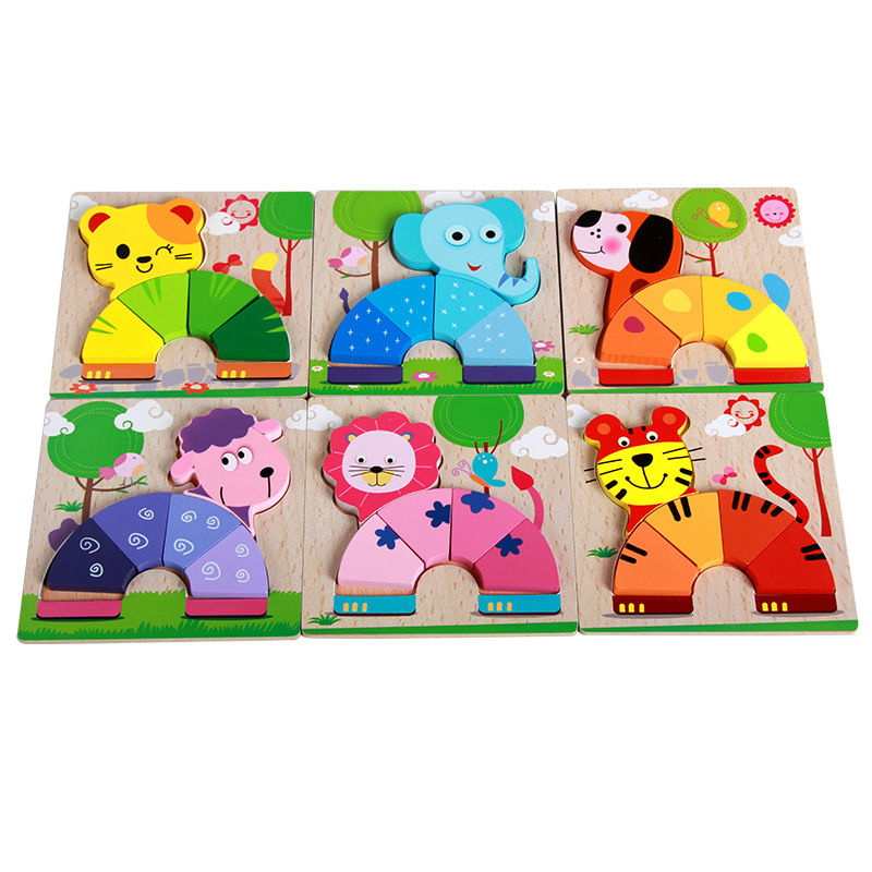 Exempt postage,wooden toys, childrens wooden three-dimensional assembled preschool educational puzzles, toys