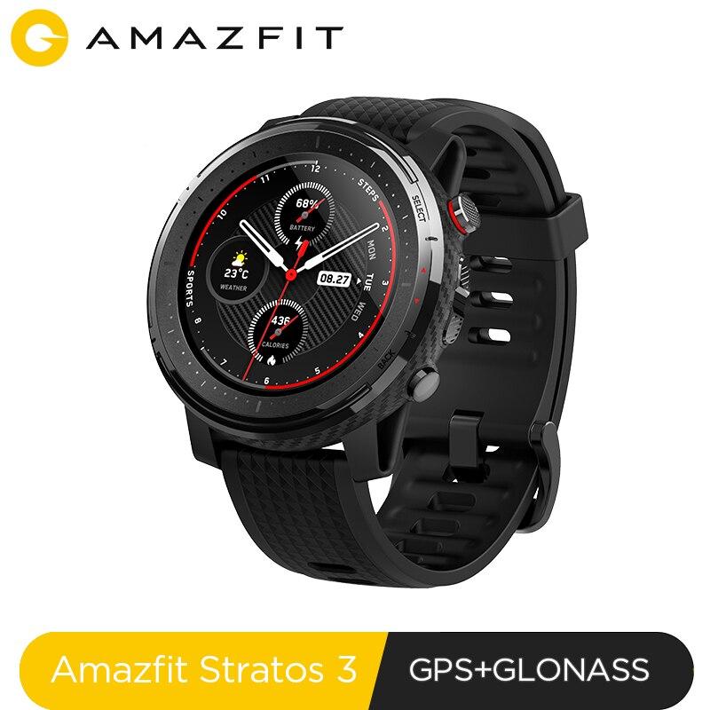 En existencia versión Global nuevo reloj inteligente Amazfit Stratos 3 GPS 5ATM Bluetooth música modo Dual 14 días reloj inteligente para Xiaomi 2019