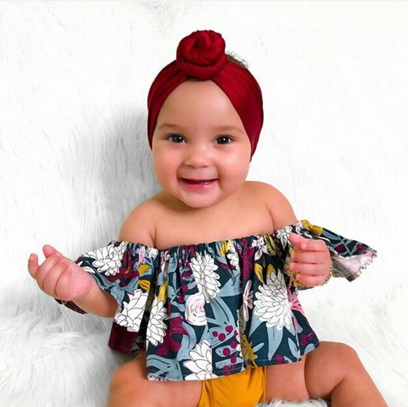 US Infant Kid Baby Girl Off Shoulder Tops T-shirt+Shorts Pants 2pcs Outfit Set