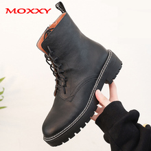 2019 New Fall Combat Boots Women Leather Black Platform Martin Ankle Shoes Zip Lace Up Casual Botas Mujer